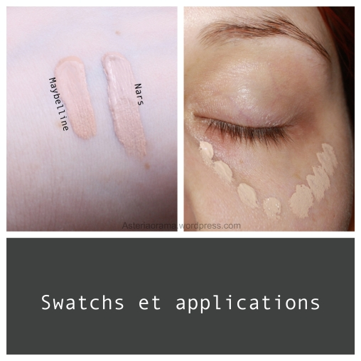 Application et swatchs - Fit me de Maybelline et Eclat de Nars