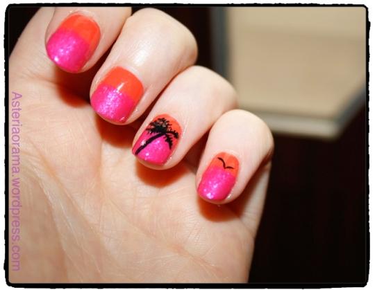Nail art - couleur été palmier tropical 3