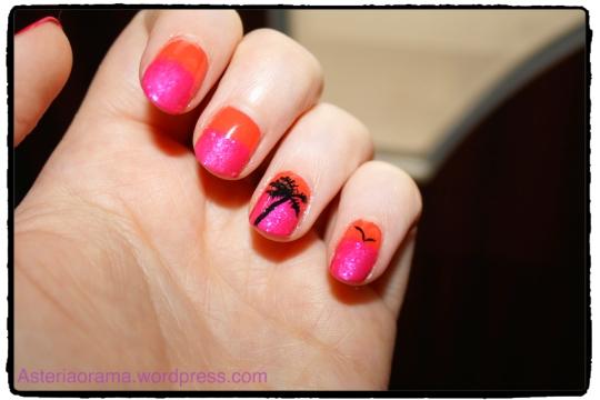 Nail art - couleur été palmier tropical