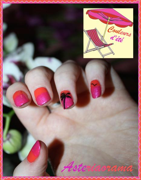 Nail art - couleur été palmier tropical 4